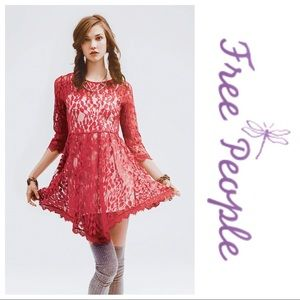 NWOT Free People Floral Mesh Lace Dress